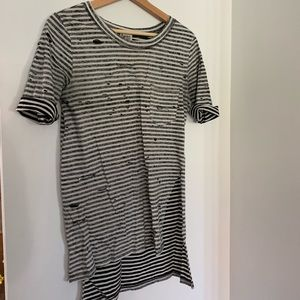 Free people black and white lined distressed shirt